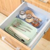 抽屉分隔收纳整理盒 厨房餐具收纳盒长方形塑料收纳格(大号) 绿色