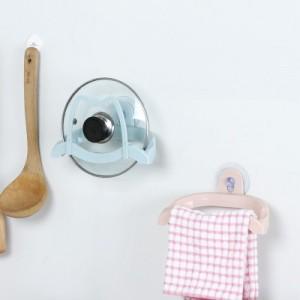 多功能吸盘锅盖架砧板架 厨房收纳多用毛巾架 粉色
