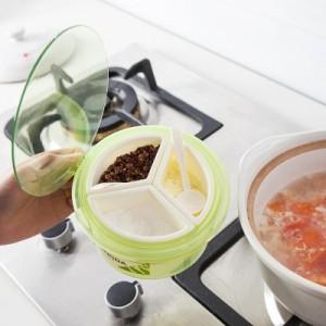 创意厨房圆形三格调味盒 透明带盖多格调味罐(小号)9236 粉色