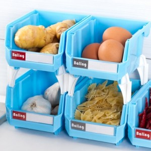 厨房多功能杂物篮 可叠加自由组合收纳筐收纳盒置物架 5只装 黄色