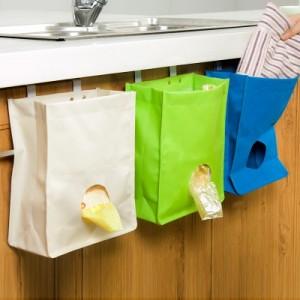 厨房杂物整理袋 门背式抽取垃圾袋收纳袋 储物袋 米色