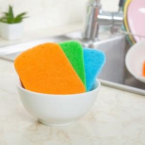 厨房带孔多用百洁布 海绵擦 洗碗布(5片装)  橙色