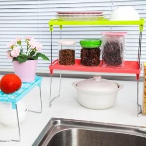加厚加固多用可叠加多层置物架 厨房可折叠桌面杂物收纳架(小号) 绿色
