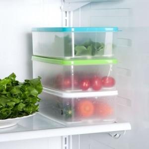 可叠加长方形冰箱沥水保鲜盒 糖果色生鲜密封收纳盒 蓝色