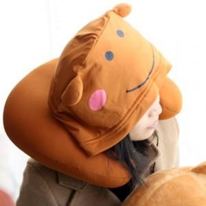 维维熊 戴帽U型枕 棕色