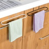 厨房多用途单杆门背式毛巾架 无痕免钉橱柜抹布挂架杂物挂 黑色