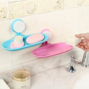 厨卫无痕托盘架 炫彩浴室香皂架 超强吸盘沥水肥皂盒 皂网 绿色