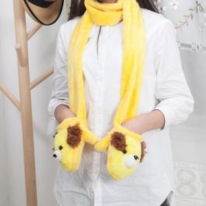 冬季保暖二合一卡通成人儿童动物防寒毛绒手套 围巾 蓝色
