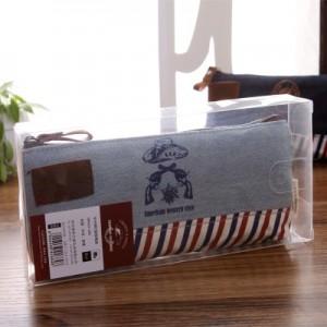 创意韩版牛仔很忙船型笔袋 复古大容量学生文具 MH14-205 酒红色