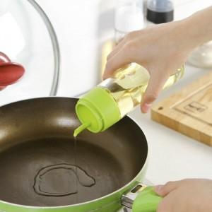 厨房常用带盖防尘防漏不挂油可回油玻璃瓶油壶200ML  橙色