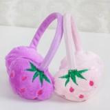 时尚仿兔毛冬季保暖耳罩耳朵防冻保护罩护耳罩 可爱草莓款 棕色