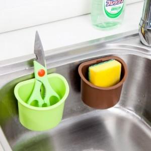 厨房水槽海绵沥水架 强力吸盘置物架收纳盒卫生间置物盒 棕色