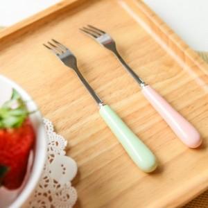 卡通不锈钢水果叉 陶瓷手柄叉子餐具蛋糕甜品叉 橙色