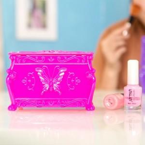 时尚双层带镜子化妆棉收纳盒 化妆品储物盒 B-012 粉色