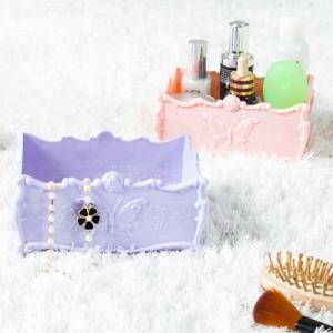 长方形蔷薇花蝴蝶纹首饰盒 饰品收纳盒 小物存储盒 小号 B-006 浅粉