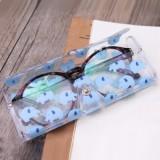可爱便携透卡通近视眼镜盒 软收纳盒 593AF 白色 兔子