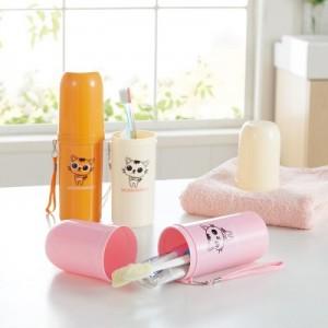 旅游必备便携牙刷牙膏杯子收纳盒 男女出差漱口杯 JY056 米色