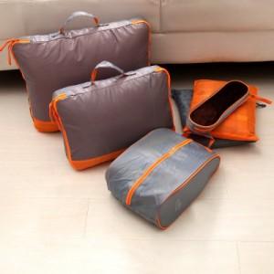 出差旅行防水防潮收纳包 大容量折叠整理袋 组合套装格子布七件套 黑红色