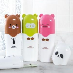旅行牙膏牙刷带盖收纳盒套装 可爱卡通便携洗漱杯 牙具盒 7701 棕色小熊