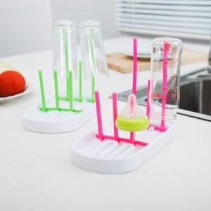 创意多位奶瓶干燥架 糖玻璃杯倒挂架 带底盘沥水架立式杯架 绿色