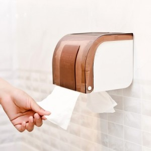 居家粘贴式防水纸巾盒 卫生间免打孔防水卷纸筒 褐色