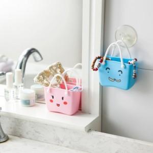 卡通水槽沥水收纳挂袋 多用收纳挂篮 海绵沥水架储物盒 粉色