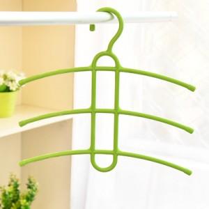 魔术三层防滑塑料晾衣架 鱼骨型多层衣服挂架衣撑衣挂 绿色 80个/箱