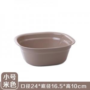 加厚塑料洗脸盆 洗脚盆 方形洗衣盆洗菜盆果盘 小号米色  200一件