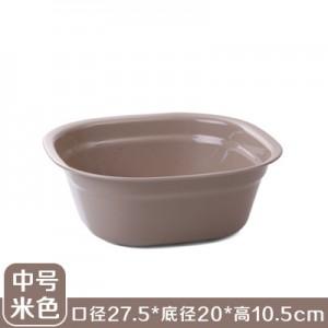 加厚塑料洗脸盆 洗脚盆 方形洗衣盆洗菜盆果盘 中号米色  160一件