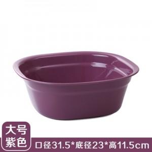 加厚塑料洗脸盆 洗脚盆 方形洗衣盆洗菜盆果盘 大号紫色  100一件