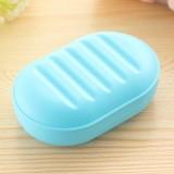 时尚椭圆形合盖香皂盒 糖果色便携肥皂盒香皂托盘 蓝色