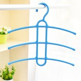 魔术三层防滑塑料晾衣架 鱼骨型多层衣服挂架衣撑衣挂 蓝色 80个/箱