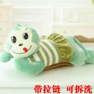 新款带拉链可拆洗双插手电热水袋 防爆暖手宝 穿裙子猴-绿色