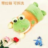 新款带拉链可拆洗双插手电热水袋 防爆暖手宝 超萌青蛙-翠绿