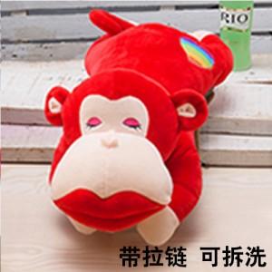 新款带拉链可拆洗双插手电热水袋 防爆暖手宝 红唇猴 大红