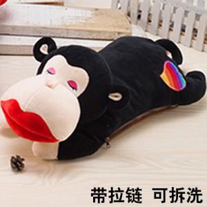 新款带拉链可拆洗双插手电热水袋 防爆暖手宝 红唇猴 黑色