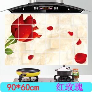 大号 经济型 厨房防油烟贴纸 耐高铝箔瓷砖橱柜贴饰温 装饰墙贴 红玫瑰