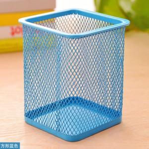 创意网格笔筒 金属笔筒多功能桌面办公收纳笔筒 方形蓝色 100个/箱