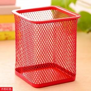 创意网格笔筒 金属笔筒多功能桌面办公收纳笔筒 方形红色 96个/箱