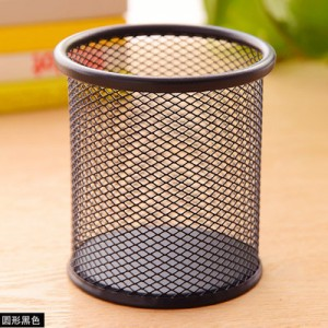 创意网格笔筒 金属笔筒多功能桌面办公收纳笔筒 圆形黑色 96个/箱