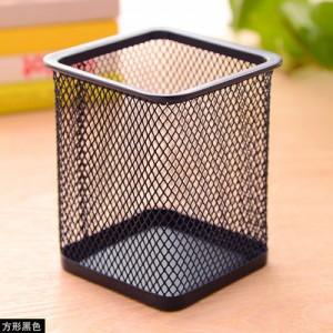 创意网格笔筒 金属笔筒多功能桌面办公收纳笔筒 方形黑色 96个/箱