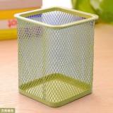 创意网格笔筒 金属笔筒多功能桌面办公收纳笔筒 方形绿色 100个/箱