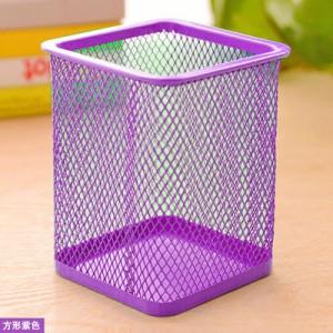 创意网格笔筒 金属笔筒多功能桌面办公收纳笔筒 方形紫色 96个/箱
