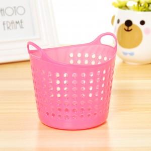 收纳蓝子塑料筐桌面藤编笔筒办公室用品收纳筐置物篮 粉色 800个/箱