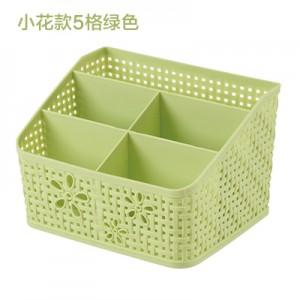 仿藤编多格化妆品遥控器收纳盒 办公桌面杂物分类整理盒 5格绿色 72个/件