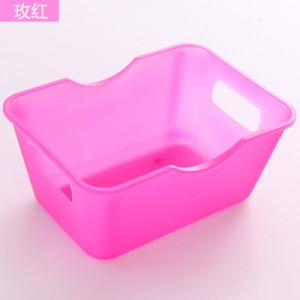 迷你桌面收纳盒塑料长方形书桌整理盒收纳置物盒 玫红 720个/箱