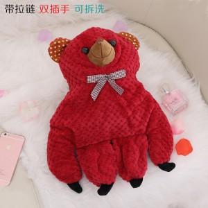 新款带拉链可拆洗双插手电热水袋 防爆暖手宝 熊孩子 红色