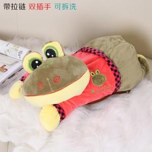 新款带拉链可拆洗双插手电热水袋 防爆暖手宝 超萌青蛙-卡其