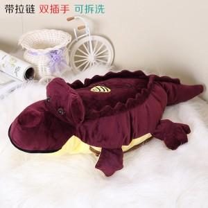 新款带拉链可拆洗双插手电热水袋 防爆暖手宝 鳄鱼 紫色
