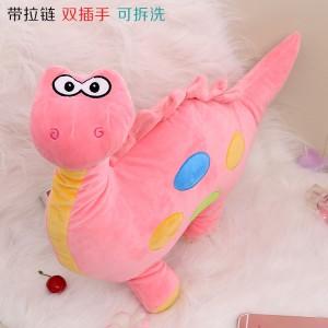 新款带拉链可拆洗双插手电热水袋 防爆暖手宝 可爱恐龙 粉色